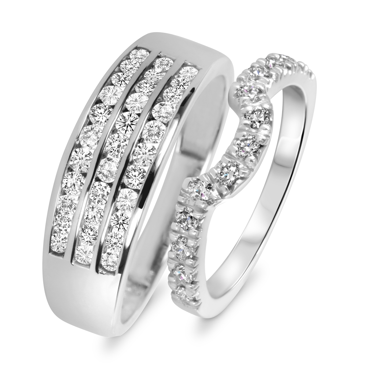 1 Carat T.W. Round Cut Diamond His And Hers Wedding Band Set 10K White Gold-