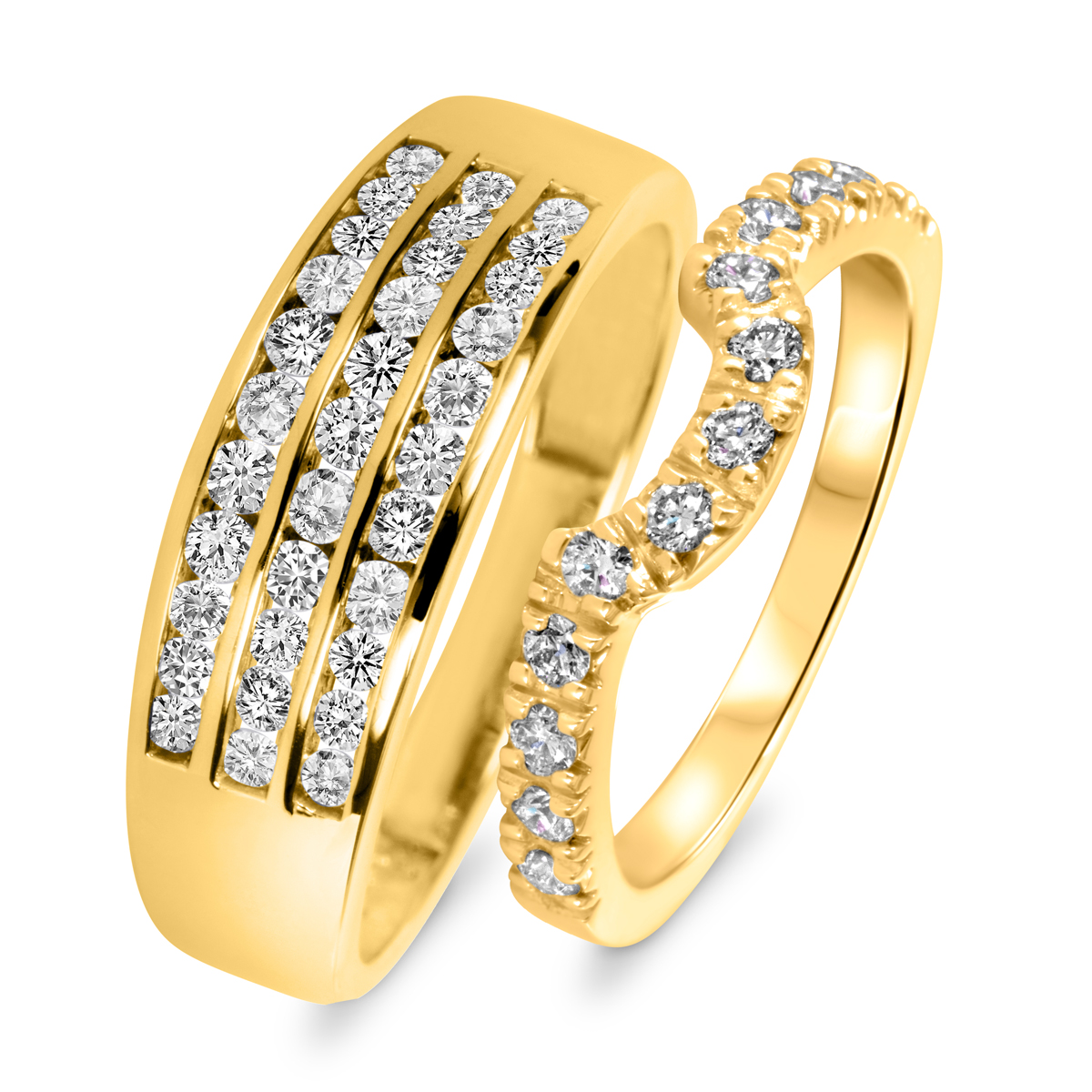 1 Carat T.W. Round Cut Diamond His And Hers Wedding Band Set 10K Yellow Gold-