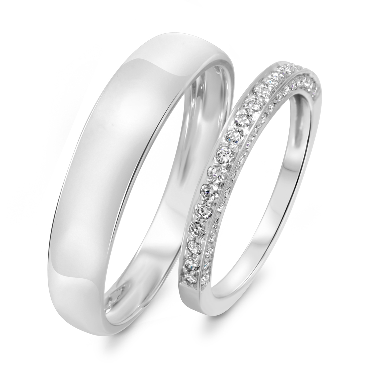 3/8 Carat T.W. Round Cut Diamond His And Hers Wedding Band Set 14K White Gold-