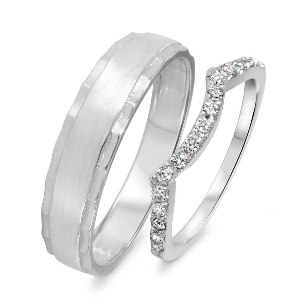 1/3 Carat T.W. Round Cut Diamond His And Hers Wedding Band Set 10K White Gold-