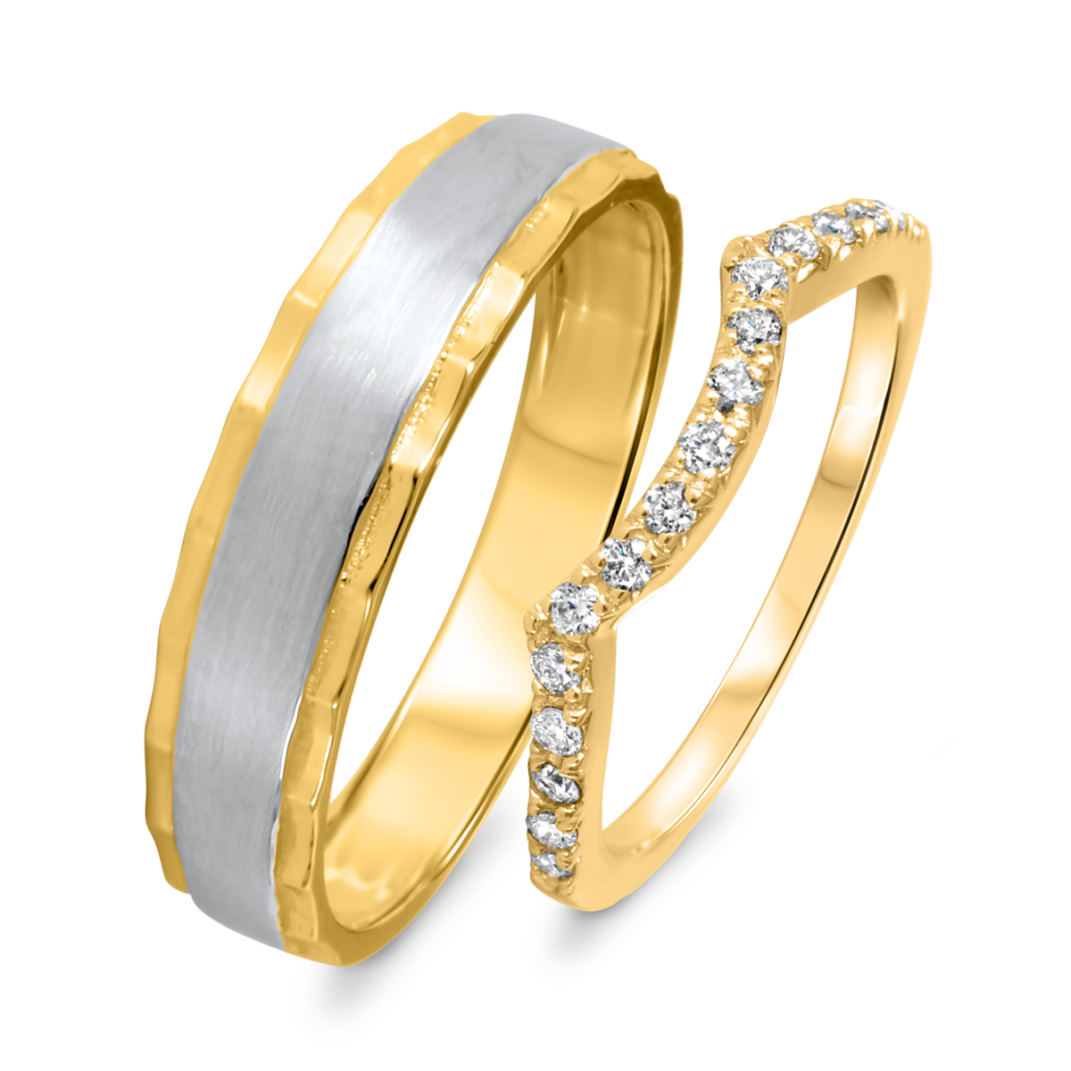 1/3 Carat T.W. Round Cut Diamond His And Hers Wedding Band Set 10K Yellow Gold-