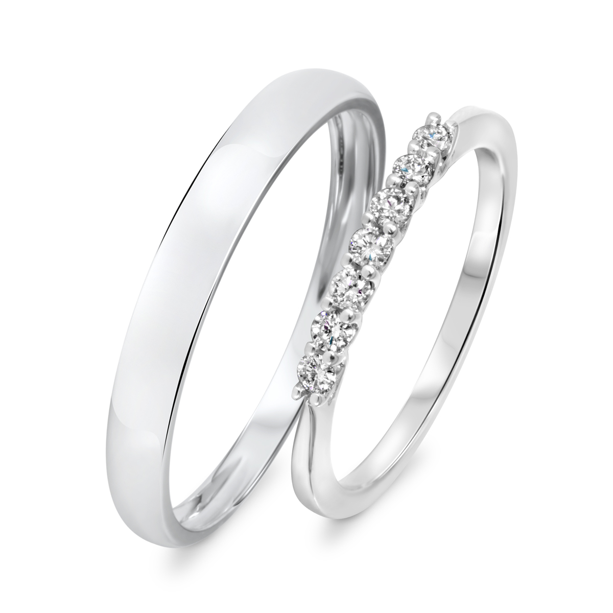 1/5 Carat T.W. Round Cut Diamond His And Hers Wedding Band Set 14K White Gold-