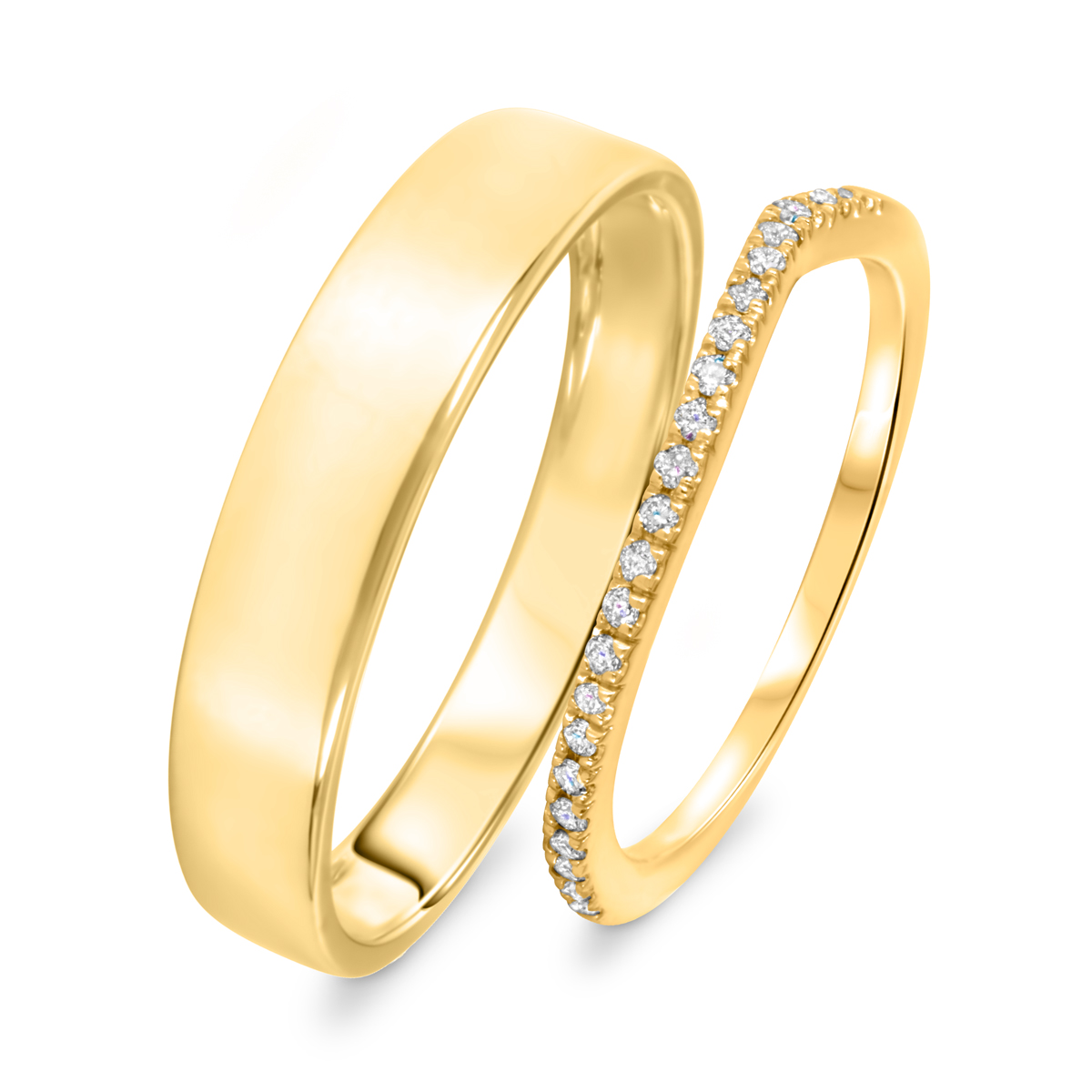 1/10 Carat T.W. Round Cut Diamond His And Hers Wedding Band Set 10K Yellow Gold-