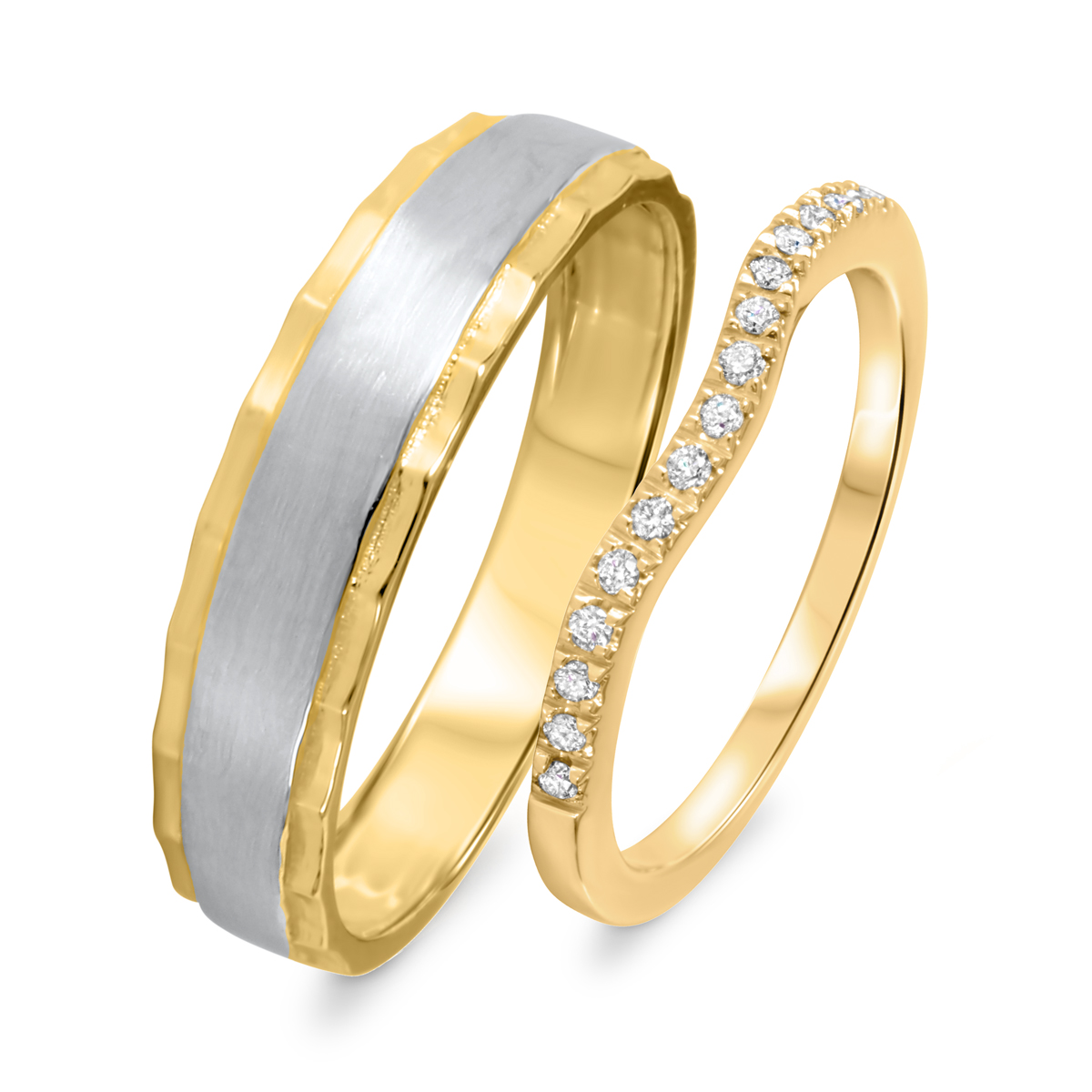 1/8 Carat T.W. Round Cut Diamond His And Hers Wedding Band Set 10K Yellow Gold-