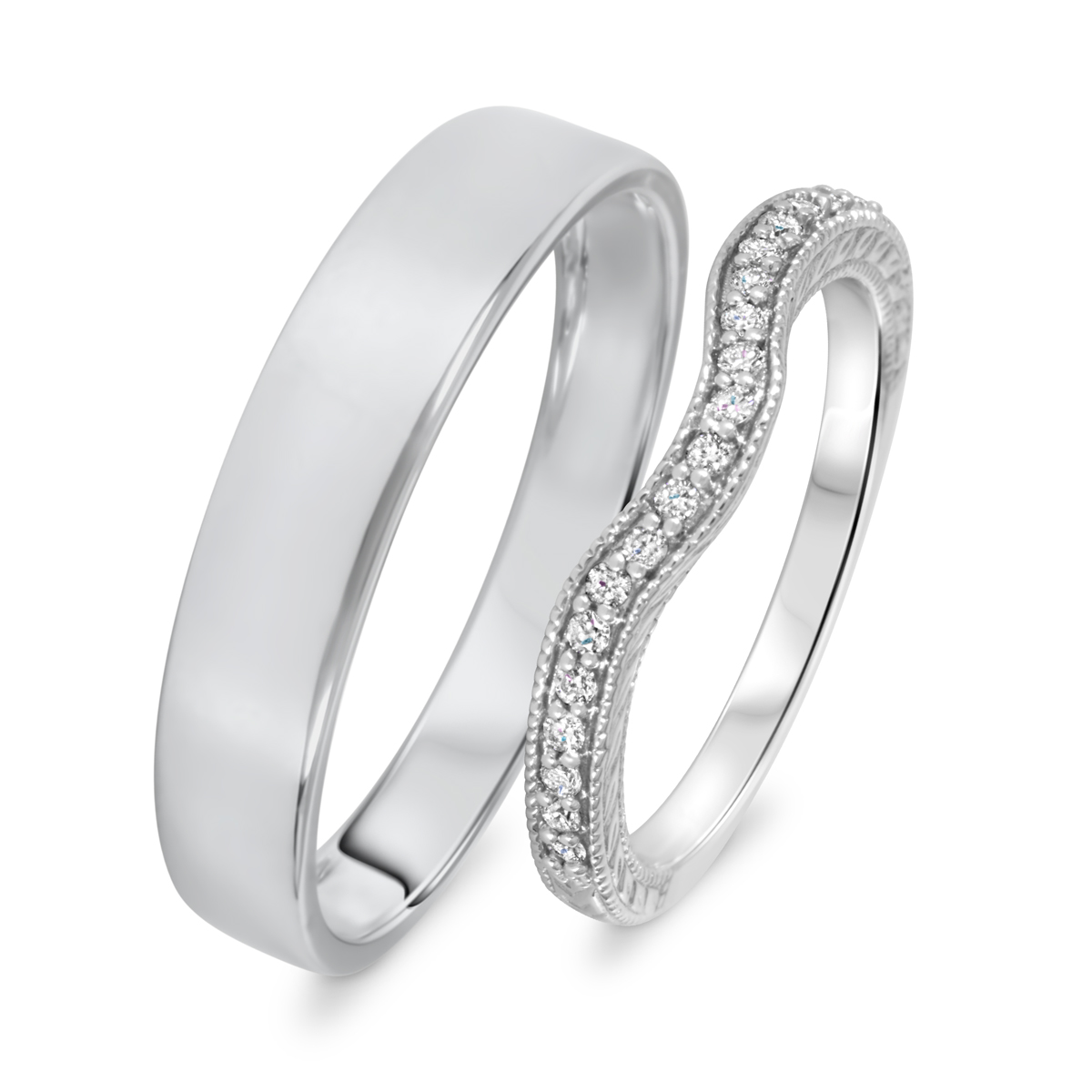 1/6 Carat T.W. Round Cut Diamond His And Hers Wedding Band Set 14K White Gold-