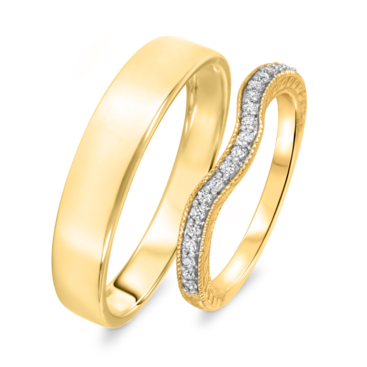 1/6 Carat T.W. Round Cut Diamond His And Hers Wedding Band Set 14K Yellow Gold-