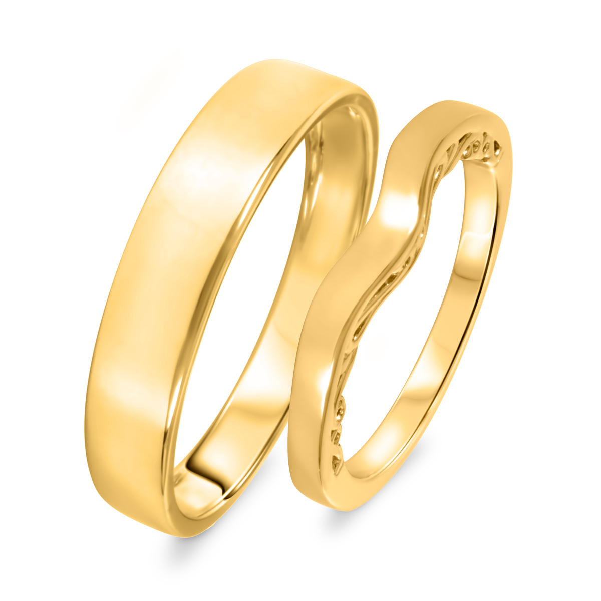 Diamond His And Hers Wedding Band Set 10K Yellow Gold- Size 8