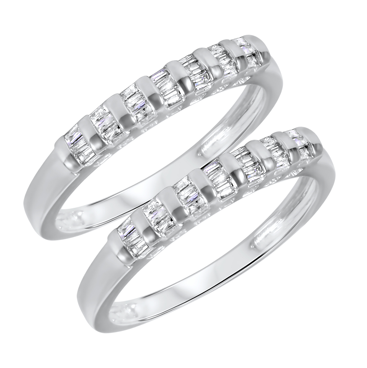 1/2 CT. T.W. Baguette Cut Ladies Same Sex Wedding Band Set 14K White Gold- Size
