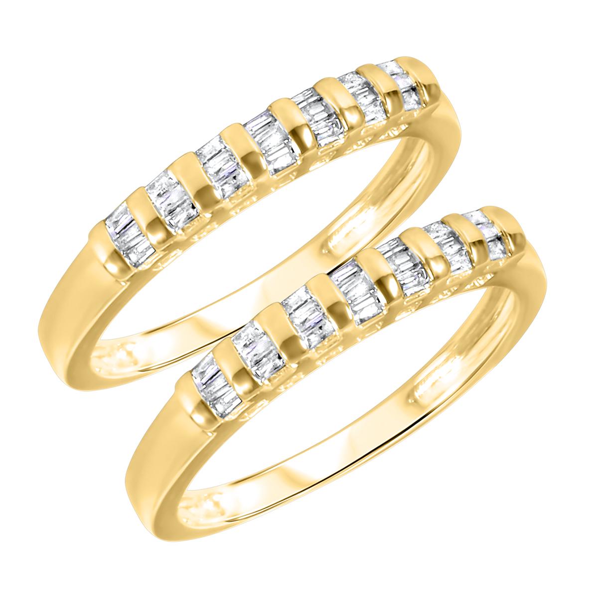 1/2 Carat T.W. Baguette Cut Ladies Same Sex Wedding Band Set 14K Yellow Gold-