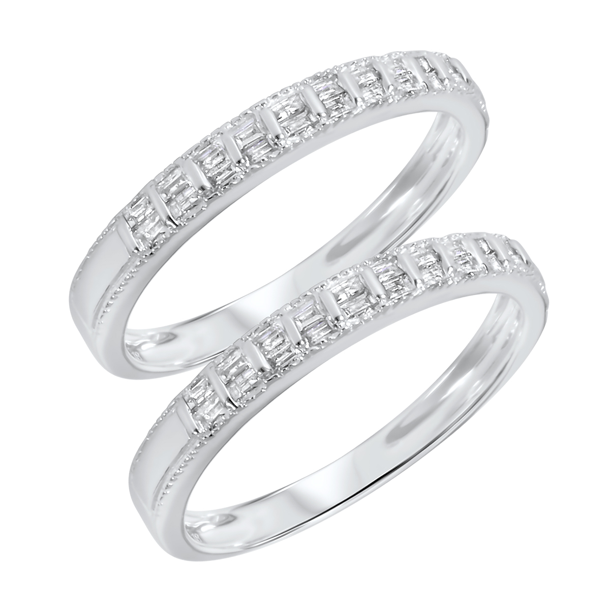 3/8 Carat T.W. Baguette Cut Ladies Same Sex Wedding Band Set 14K White Gold-