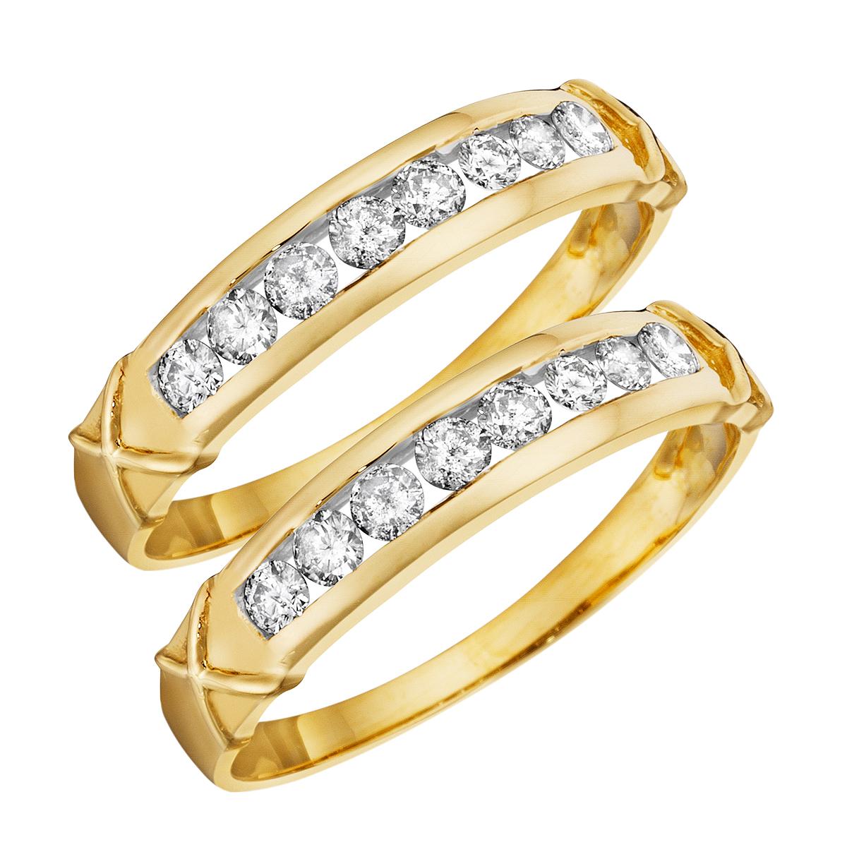 5/8 CT. T.W. Round Cut Ladies Same Sex Wedding Band Set 14K Yellow Gold- Size 8