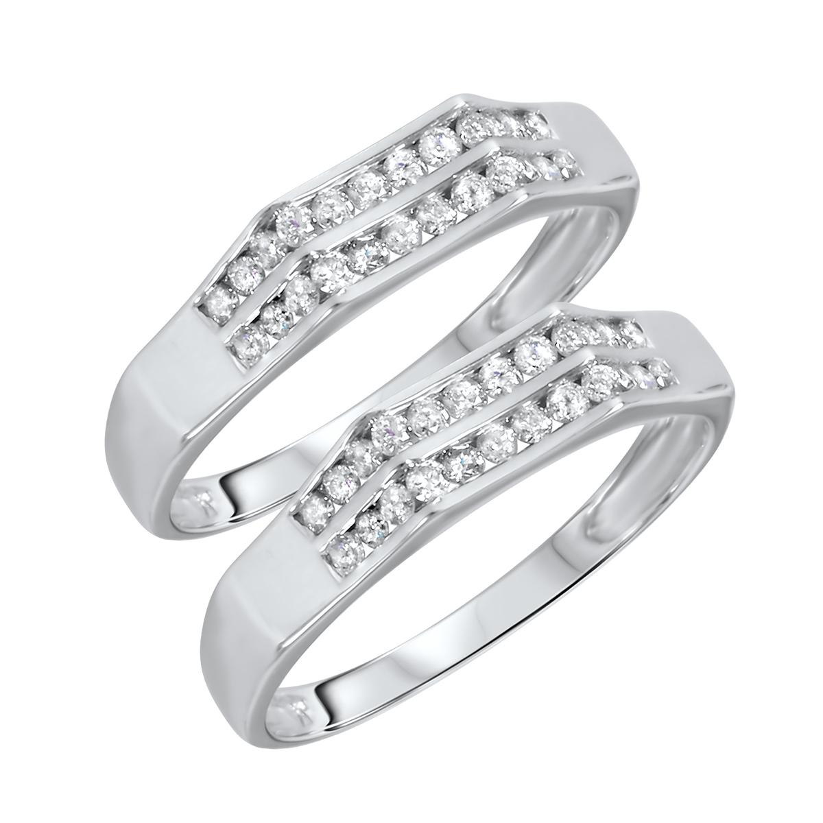 1/2 Carat T.W. Round Cut Ladies Same Sex Wedding Band Set 14K White Gold- Size 8