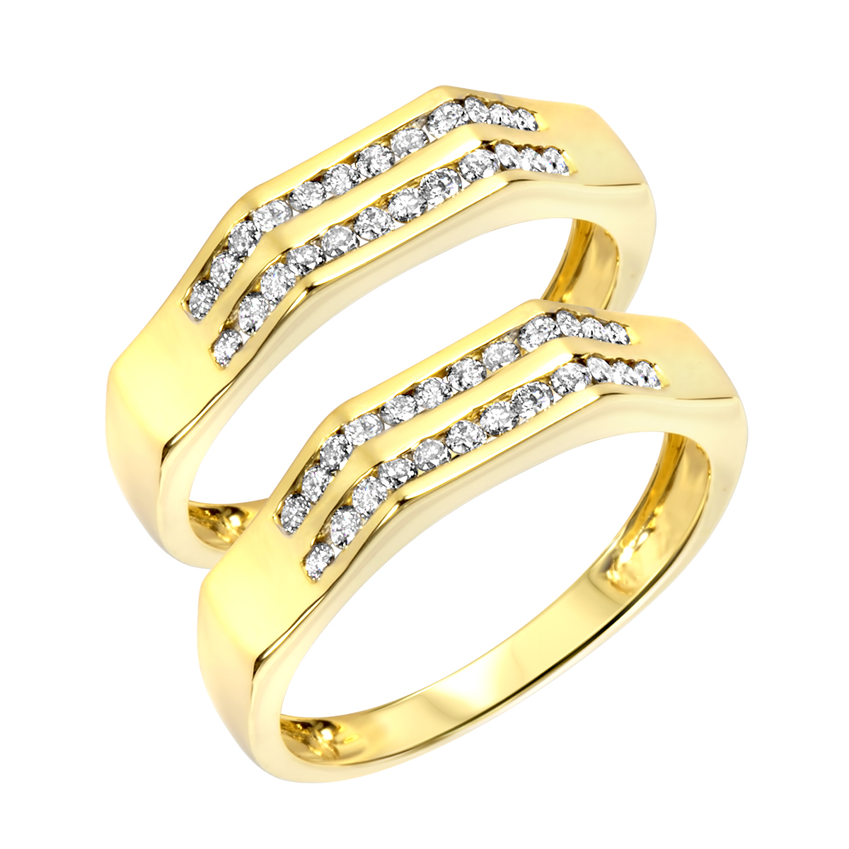 1/2 CT. T.W. Round Cut Ladies Same Sex Wedding Band Set 14K Yellow Gold- Size 8