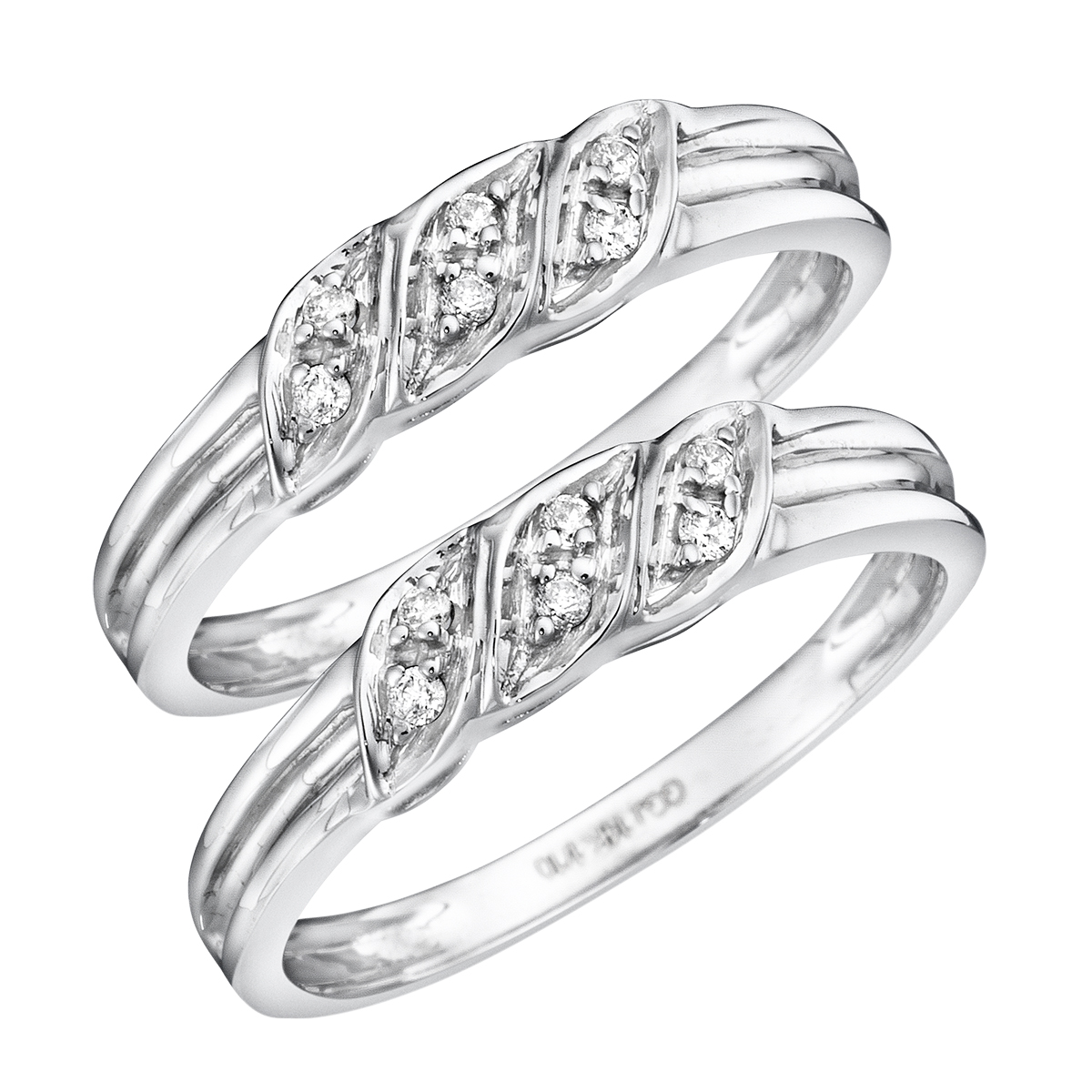 1/8 Carat T.W. Round Cut Ladies Same Sex Wedding Band Set 10K White Gold- Size 8