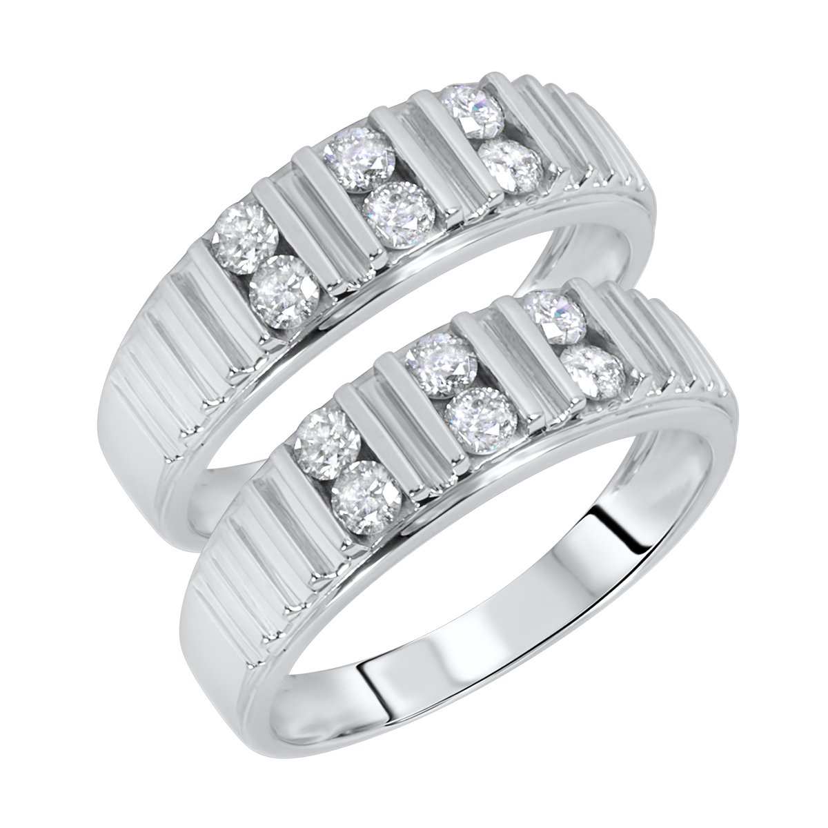 3/4 Carat T.W. Round Cut Ladies Same Sex Wedding Band Set 14K White Gold- Size 8