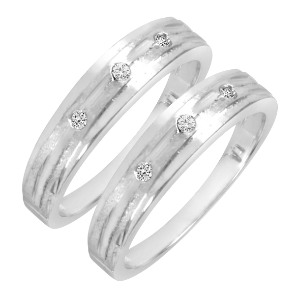 1/10 Carat T.W. Round Cut Ladies Same Sex Wedding Band Set 14K white Gold- Size