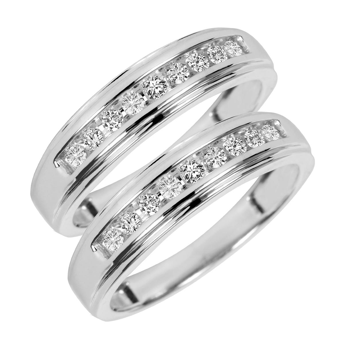 1/3 Carat T.W. Round Cut Ladies Same Sex Wedding Band Set 14K White Gold- Size 8