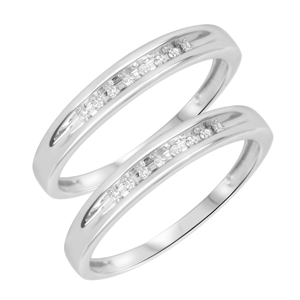 1/10 Carat T.W. Round Cut Ladies Same Sex Wedding Band Set 10K White Gold- Size