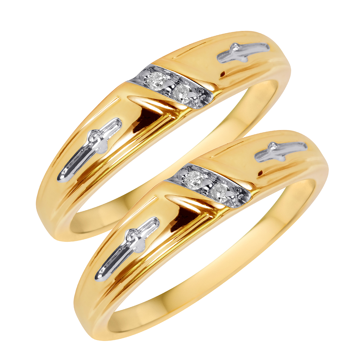 1/20 CT. T.W. Round Cut Ladies Same Sex Wedding Band Set 10K Yellow Gold- Size 8
