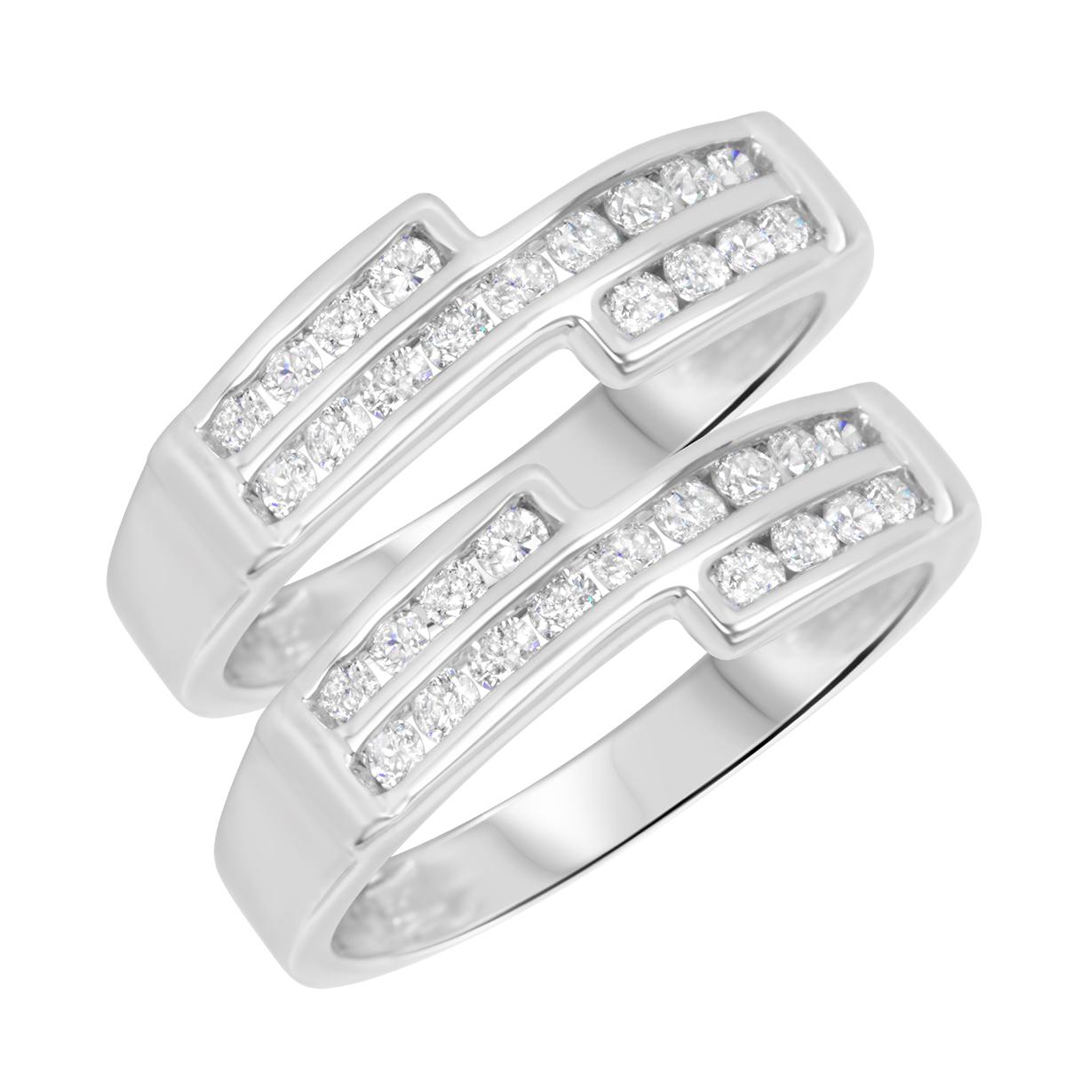 3/4 Carat T.W. Round Cut Ladies Same Sex Wedding Band Set 14K White Gold- Size 8