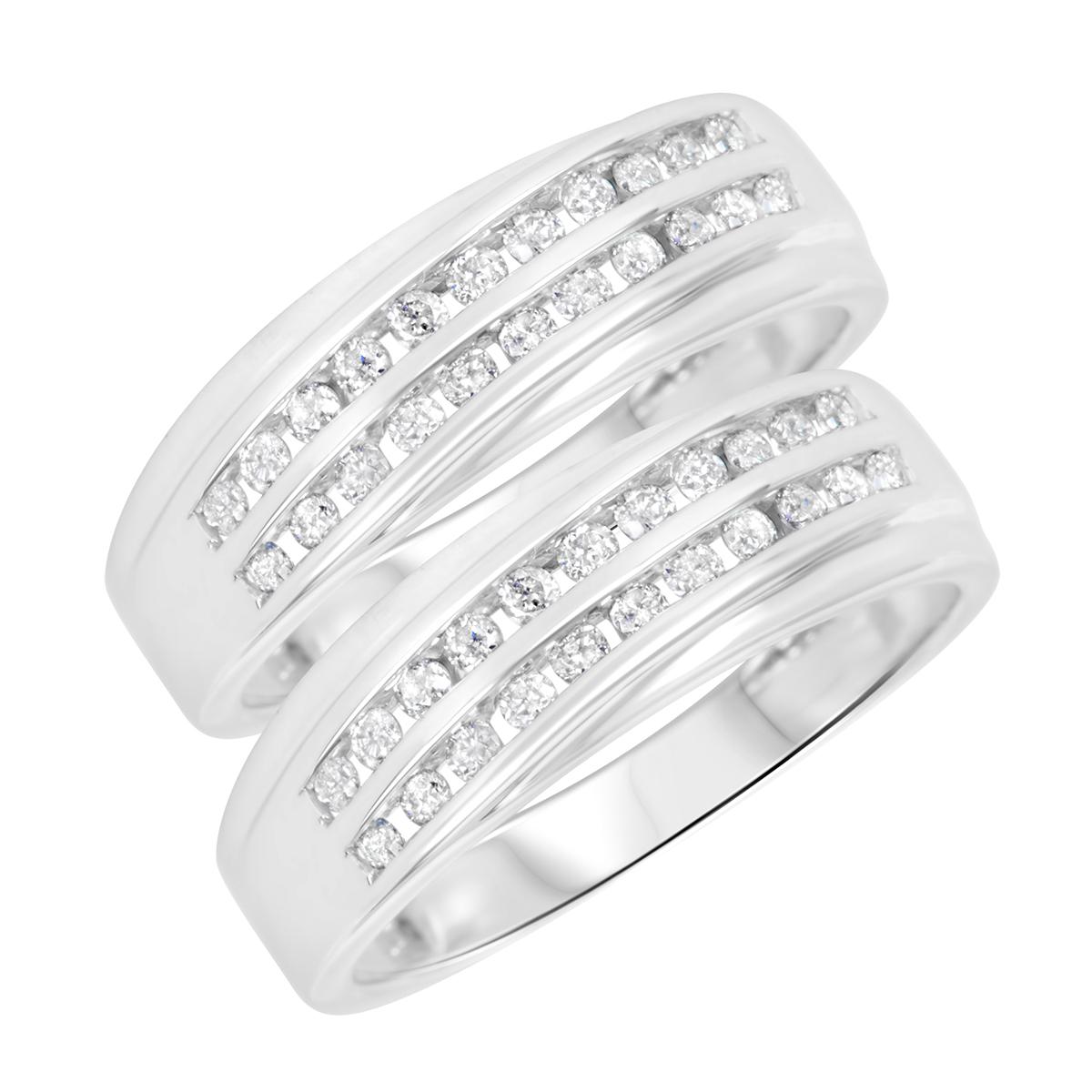 5/8 Carat T.W. Round Cut Ladies Same Sex Wedding Band Set 14K White Gold- Size 8