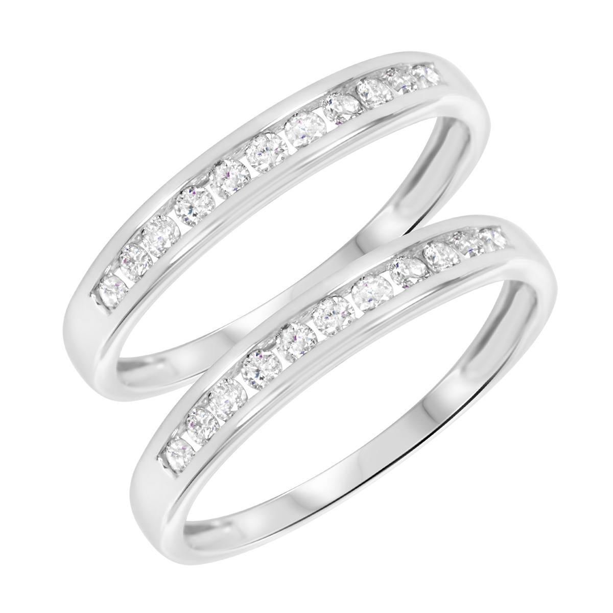 3/8 Carat T.W. Round Cut Ladies Same Sex Wedding Band Set 14K White Gold- Size 8