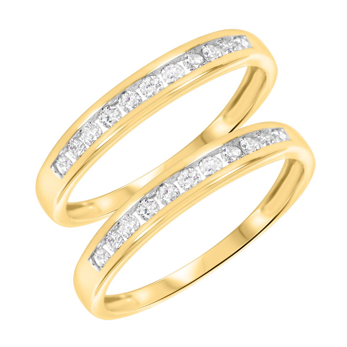 3/8 Carat T.W. Round Cut Ladies Same Sex Wedding Band Set 14K Yellow Gold- Size