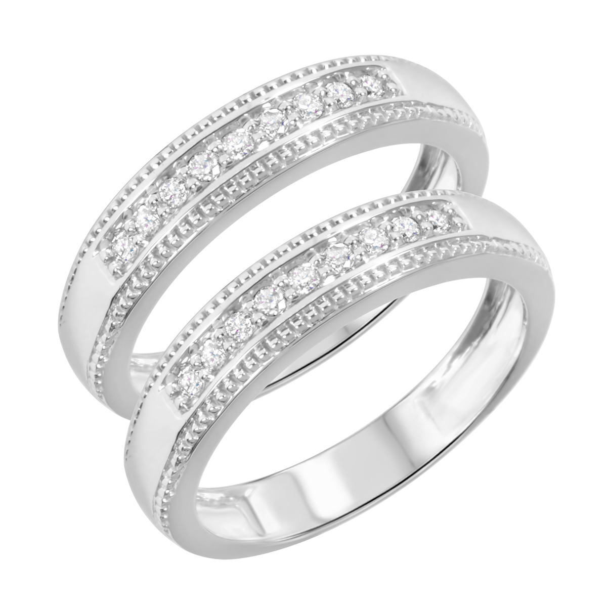 1/4 Carat T.W. Round Cut Ladies Same Sex Wedding Band Set 14K White Gold- Size 8