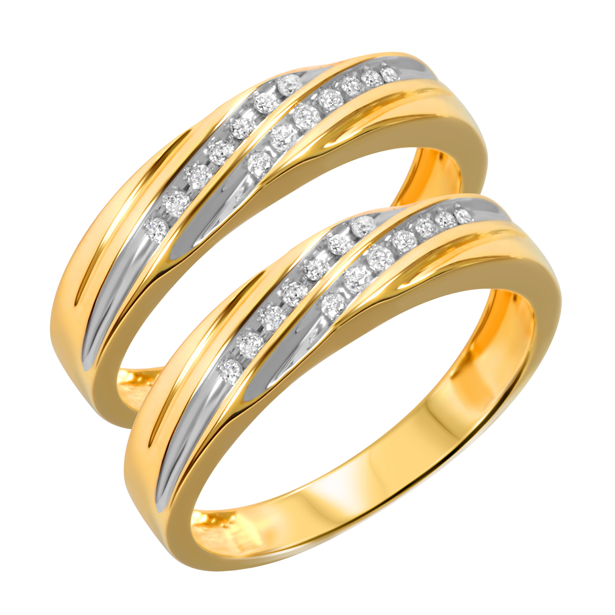 1/8 CT. T.W. Round Cut Ladies Same Sex Wedding Band Set 10K Yellow Gold- Size 8