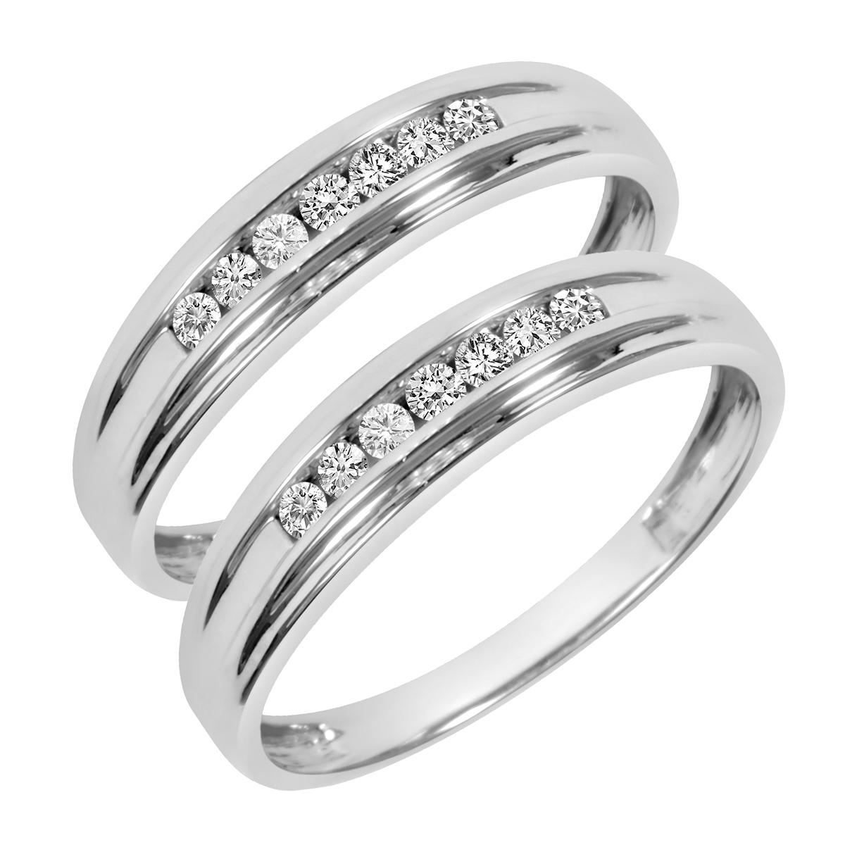 1/4 CT. T.W. Round Cut Ladies Same Sex Wedding Band Set 10K White Gold- Size 8
