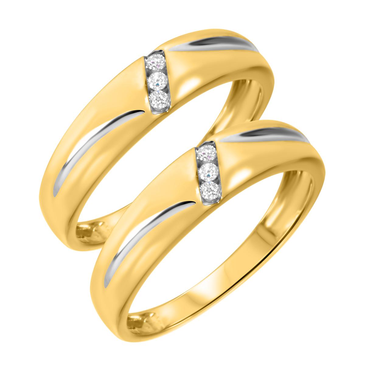 1/15 CT. T.W. Round Cut Ladies Same Sex Wedding Band Set 14K Yellow Gold- Size 8