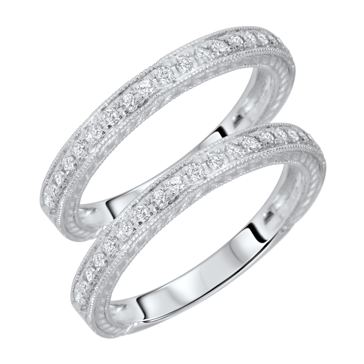 3/8 Carat T.W. Round Cut Ladies Same Sex Wedding Band Set 14K White Gold- Size 8