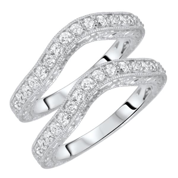 1 1/10 Carat T.W. Round Cut Ladies Same Sex Wedding Band Set 10K White Gold-