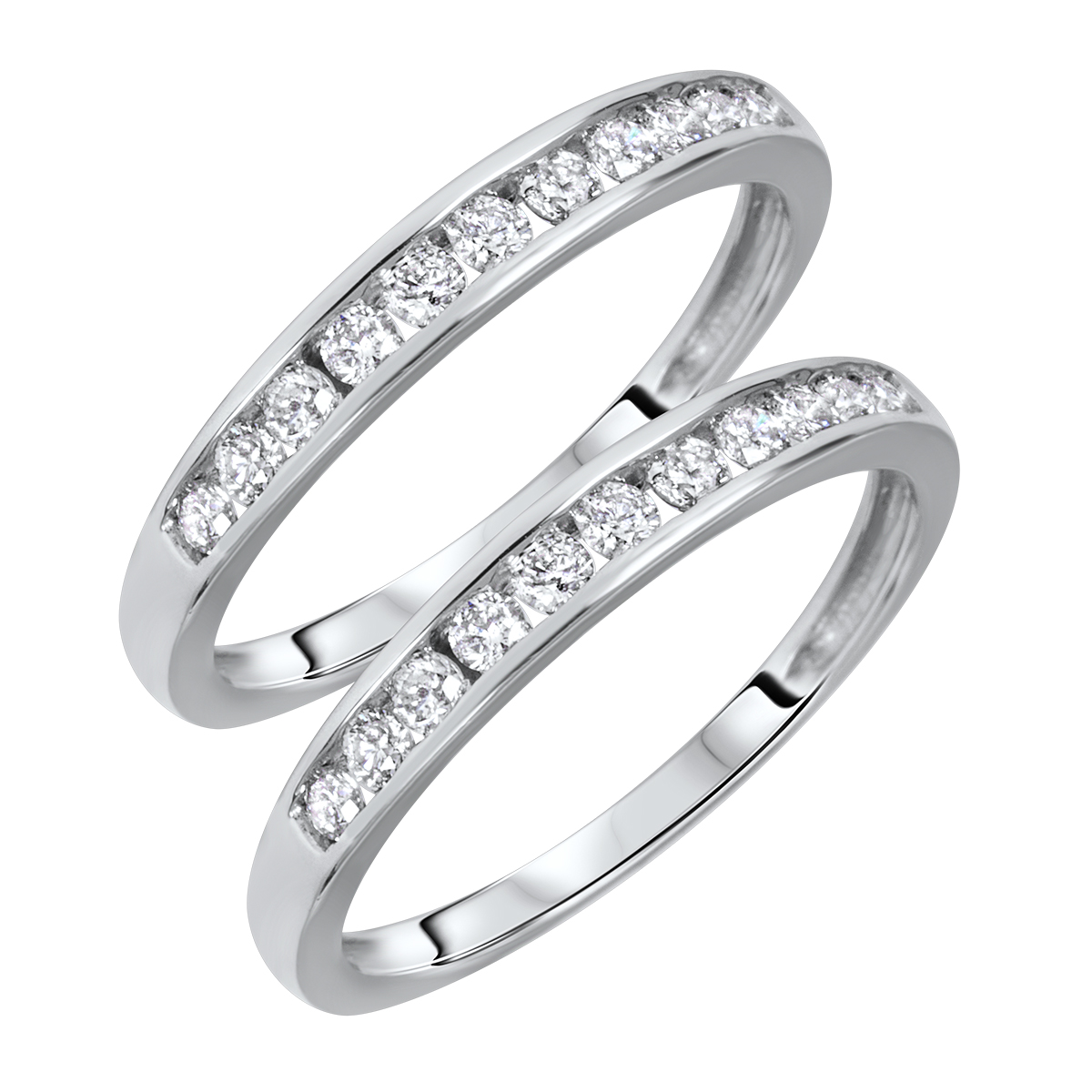1/2 Carat T.W. Round Cut Ladies Same Sex Wedding Band Set 14K White Gold- Size 8