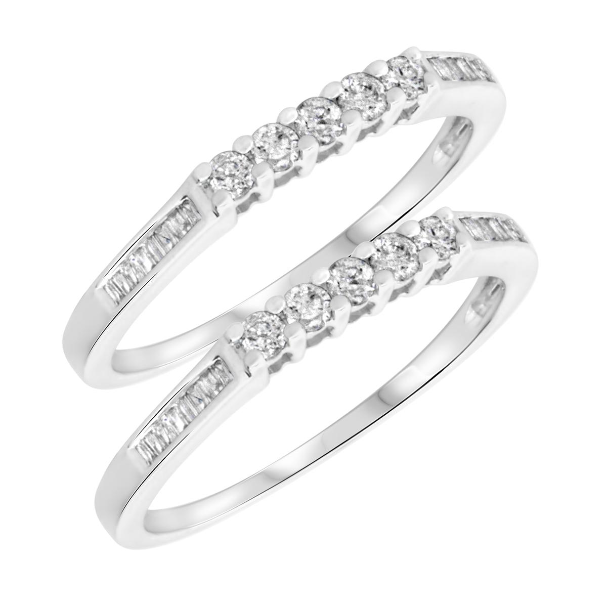 1/2 Carat T.W. Rounds Cut Ladies Same Sex Wedding Band Set 10K White Gold- Size