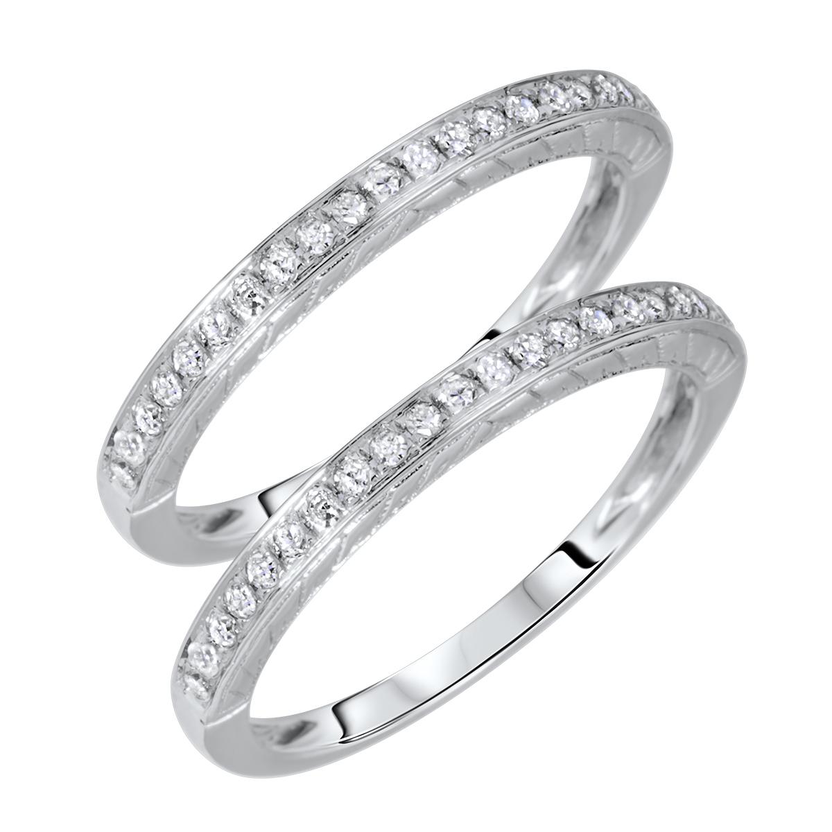 1/4 Carat T.W. Rounds Cut Ladies Same Sex Wedding Band Set 14K White Gold- Size