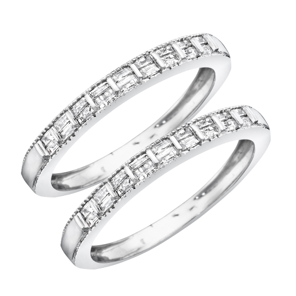 5/8 Carat T.W. Baguette Cut Mens  Same Sex Wedding Band Set 14K White Gold- Size