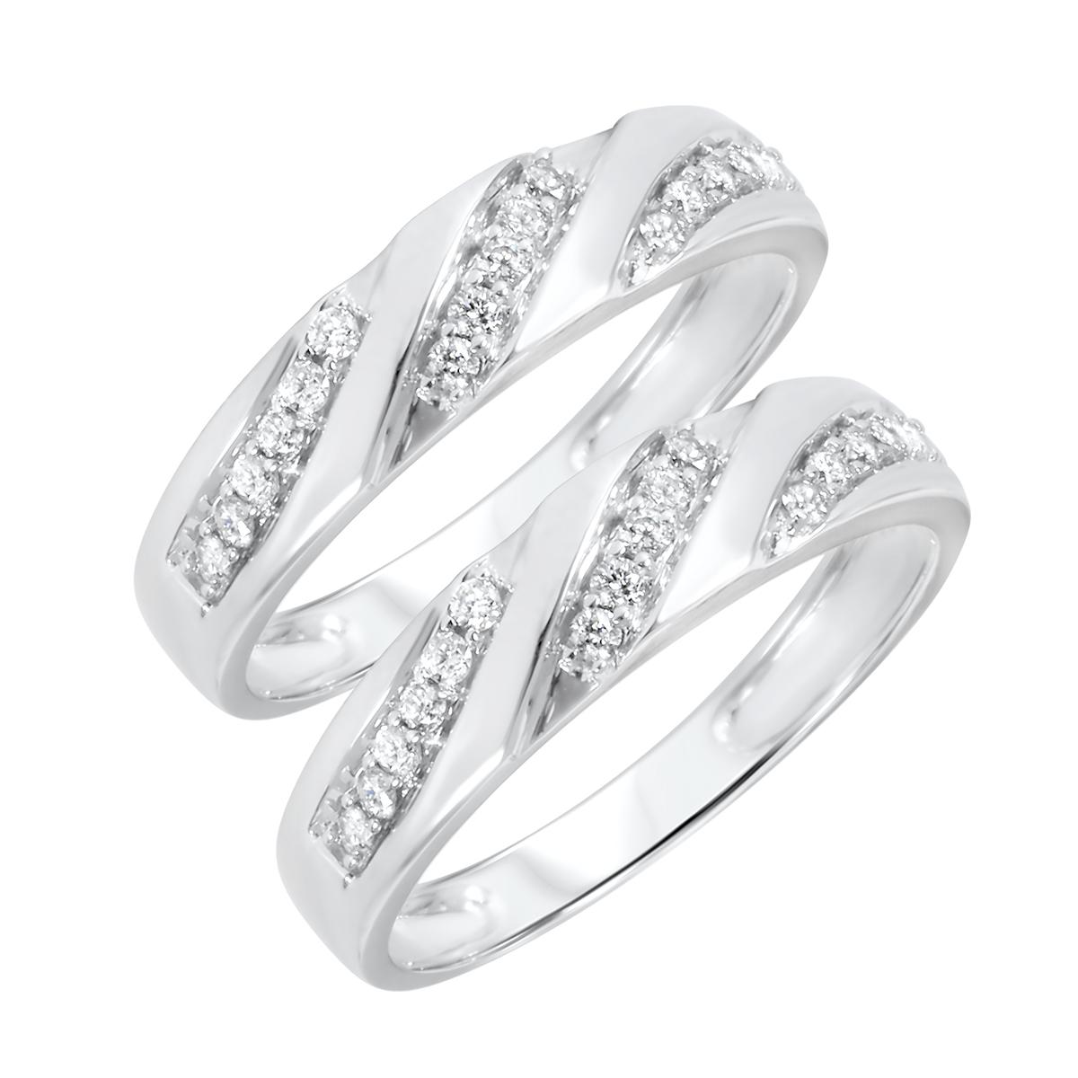 1/2 Carat T.W. Round Cut Mens  Same Sex Wedding Band Set 14K White Gold- Size 8