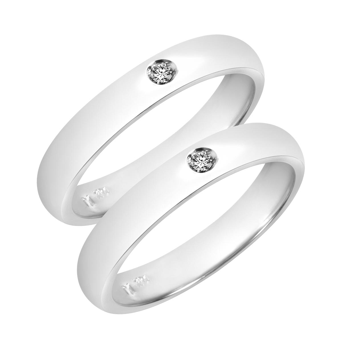 1/10 CT. T.W. Round Cut Mens  Same Sex Wedding Band Set 14K white Gold- Size 8