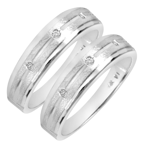 1/10 Carat T.W. Round Cut Mens  Same Sex Wedding Band Set 14K white Gold- Size 8
