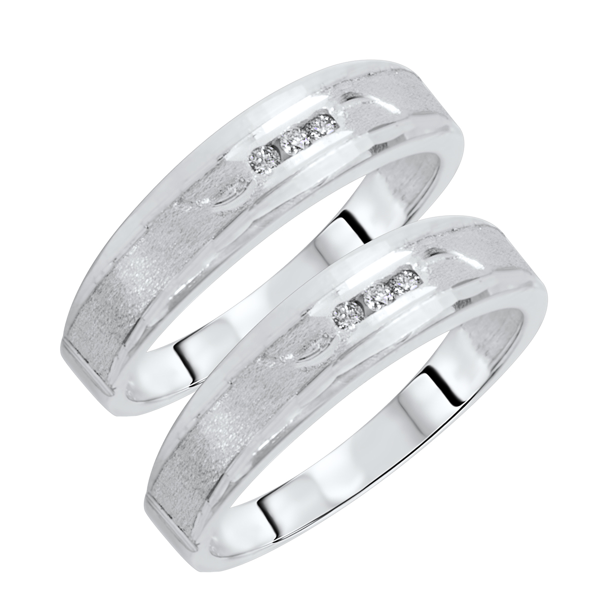 1/10 CT. T.W. Round Cut Mens  Same Sex Wedding Band Set 14K white Gold- Size 8