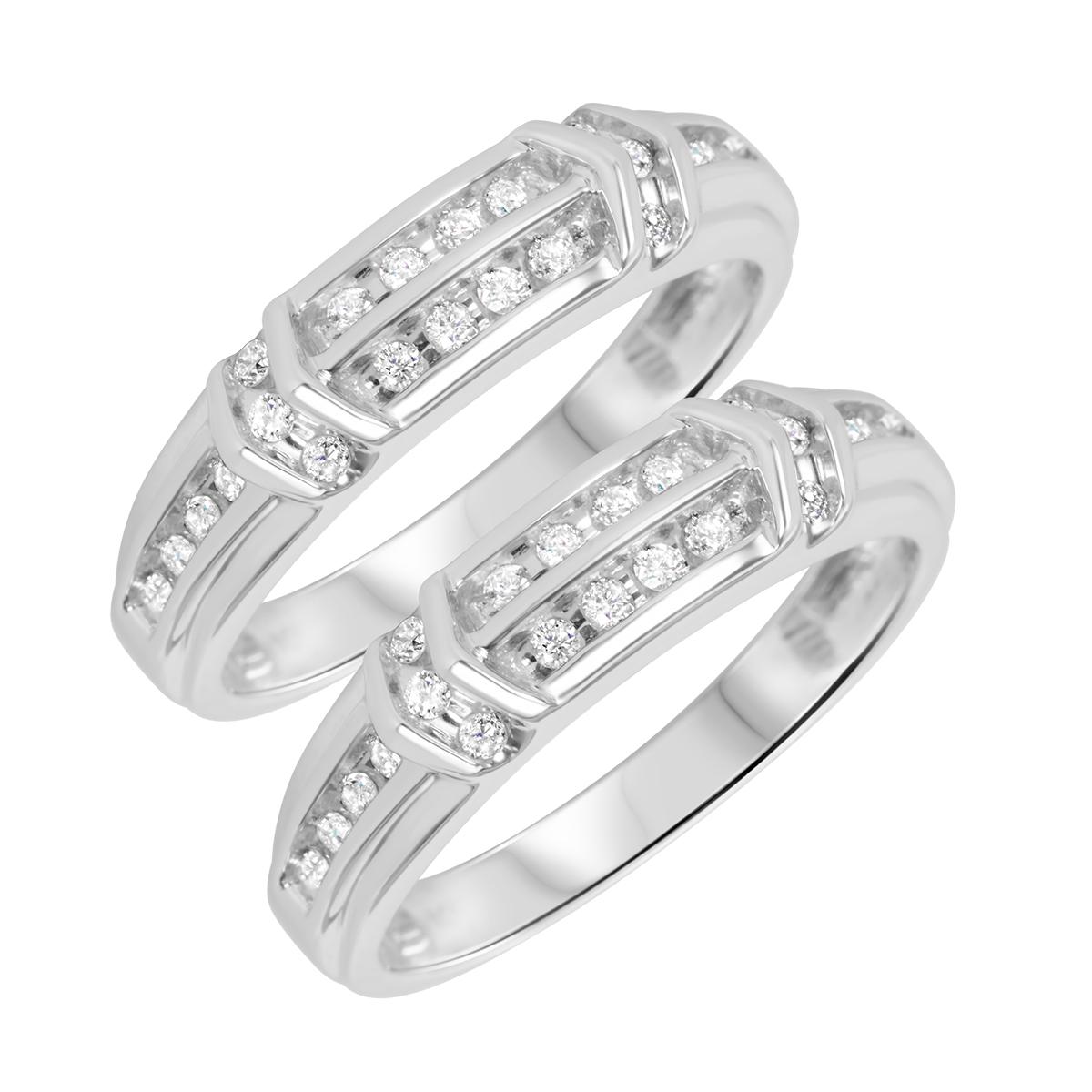 5/8 Carat T.W. Round Cut Mens  Same Sex Wedding Band Set 14K White Gold- Size 8