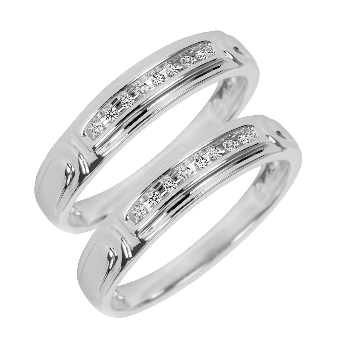 1/10 Carat T.W. Round Cut Mens  Same Sex Wedding Band Set 10K White Gold- Size 8