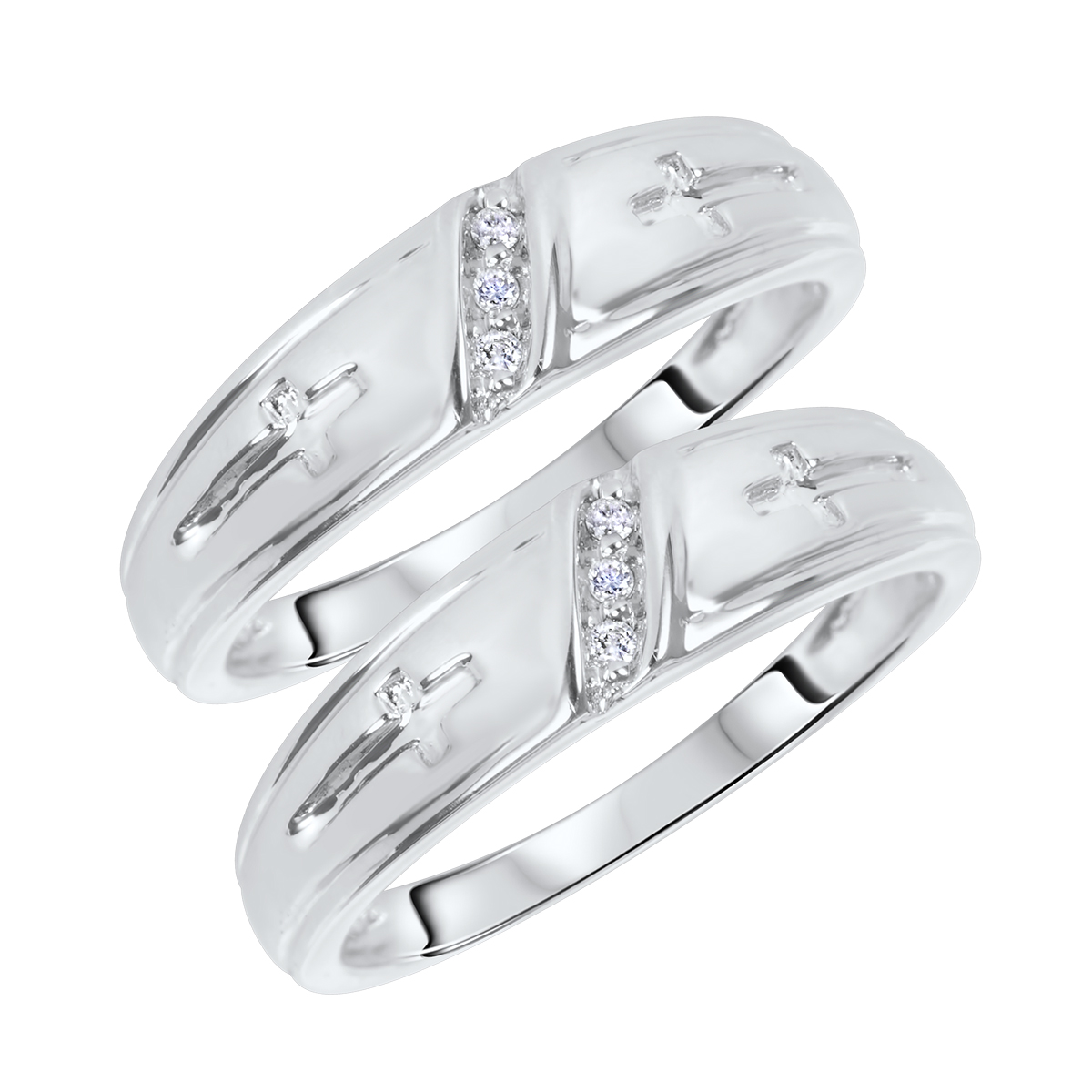 1/15 CT. T.W. Round Cut Mens  Same Sex Wedding Band Set 10K White Gold- Size 8
