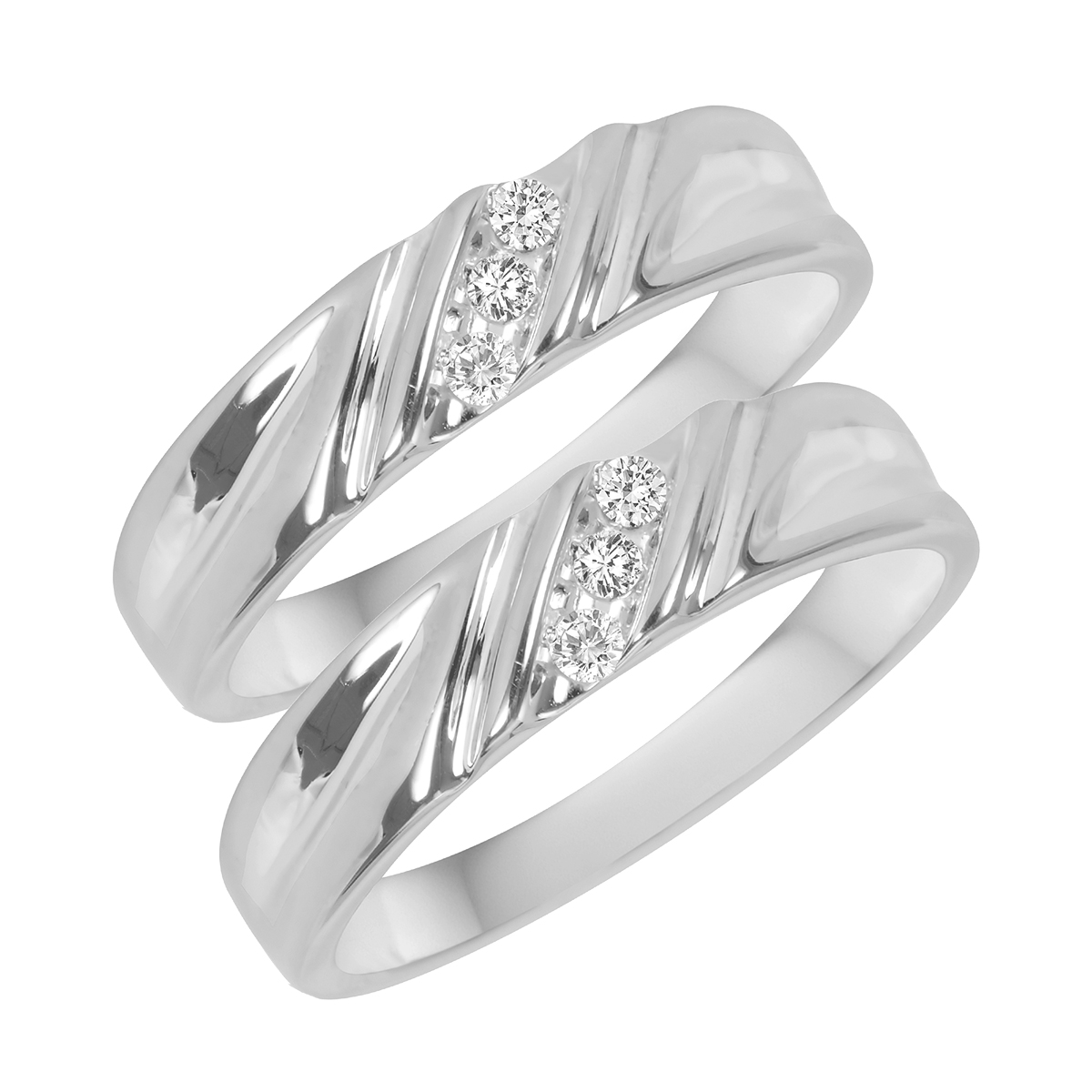 1/10 Carat T.W. Round Cut Mens  Same Sex Wedding Band Set 14K White Gold- Size 8