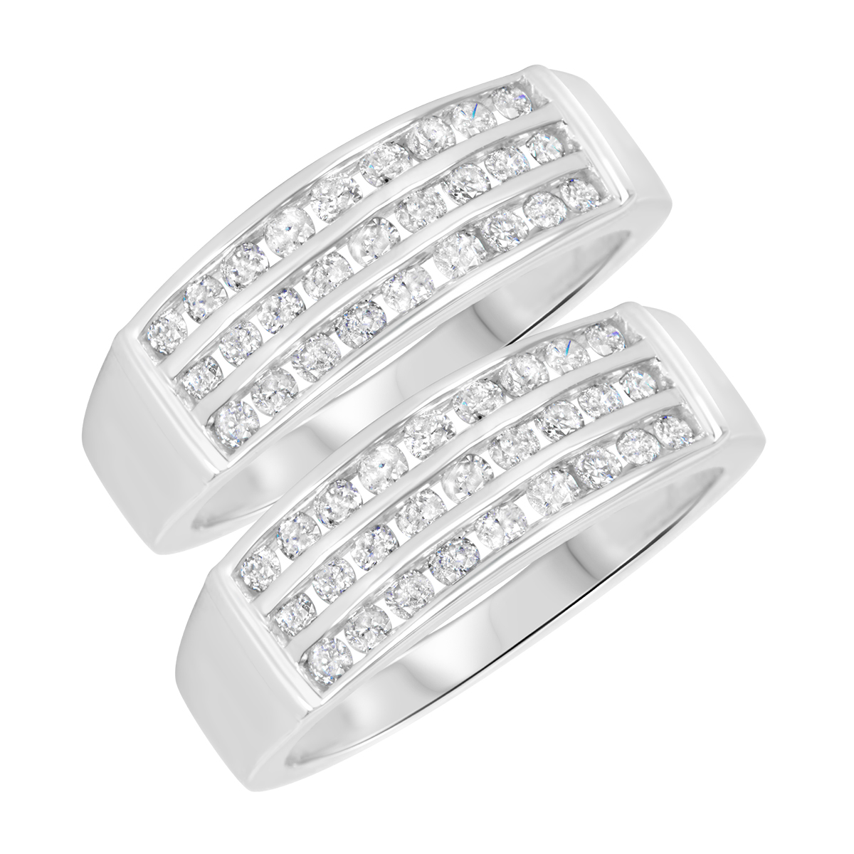1 3/8 Carat T.W. Round Cut Mens  Same Sex Wedding Band Set 14K White Gold- Size