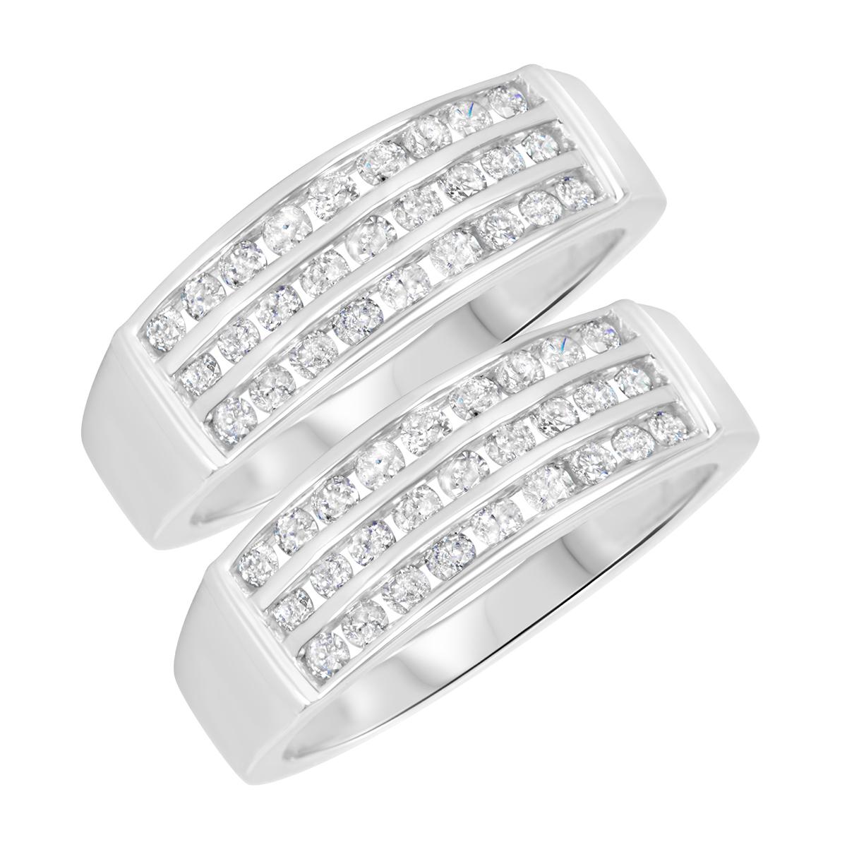 1 3/8 Carat T.W. Round Cut Mens  Same Sex Wedding Band Set 14K White Gold- Size