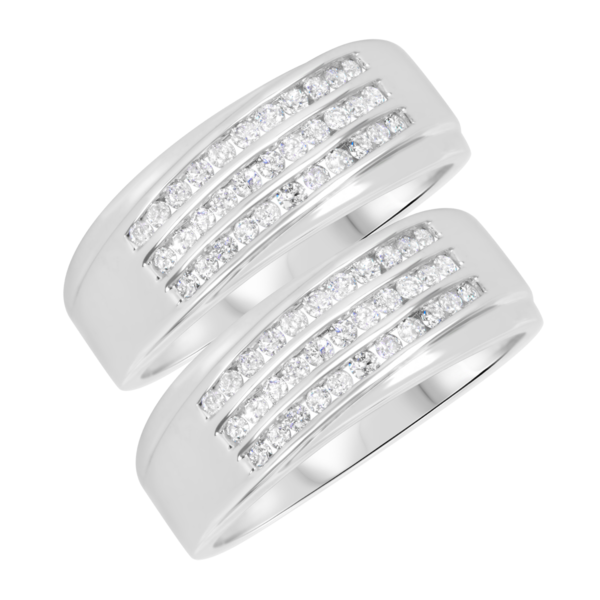 7/8 Carat T.W. Round Cut Mens  Same Sex Wedding Band Set 14K White Gold- Size 8