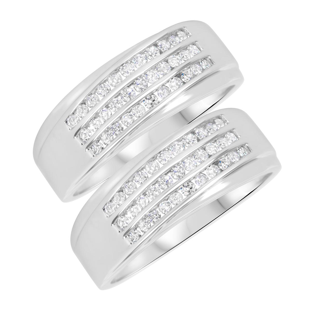 7/8 Carat T.W. Round Cut Mens  Same Sex Wedding Band Set 10K White Gold- Size 8