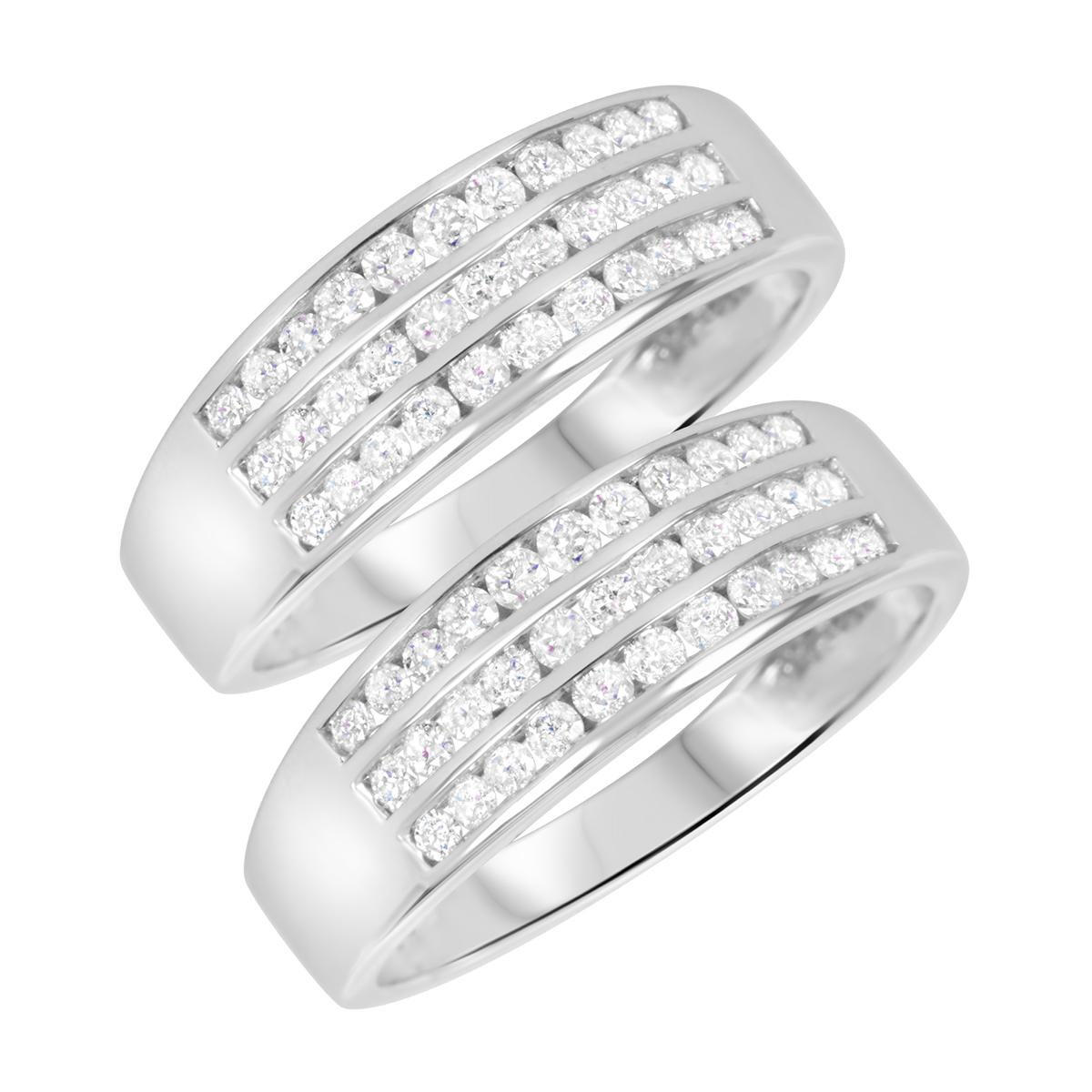 1 1/3 Carat T.W. Round Cut Mens  Same Sex Wedding Band Set 14K White Gold- Size